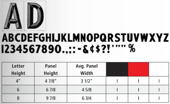 Gemini Pronto AD Letter Size and Color Chart