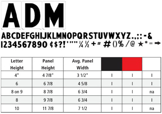 Pronto ADM Letters color and sizes chart