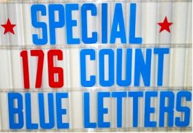 "8"" on 8 7/8"" Blue Flex-Plastic Sign Letters"