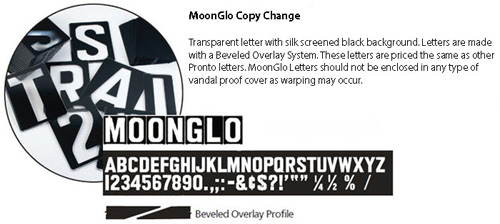MoonGlo Reverse Copy Changeable Letters