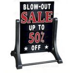 Swinger Sidewalk Sign Changeable Message Board Black